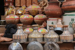 The clay pots. A young boy selling clay pots in sukkur sindh Pakistan Stock Photography