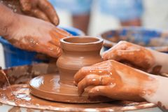 Clay potter hand Royalty Free Stock Photo