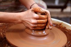 Clay potter hands closeup working Royalty Free Stock Photography