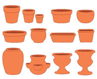Clay Pottery Collection. For gardening & do it yourself projects: flowerpots, planters, bulb pans, bonsai tray, strawberry jar, urns. EPS8 organized in groups Stock Photography