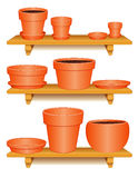 Clay Pottery Collection, Wooden shelves. Clay pottery collection for gardening & do it yourself projects: flowerpots, saucers, planters on three wooden shelves royalty free illustration
