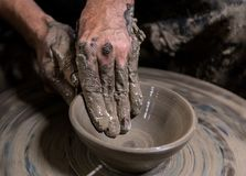 Clay pottery hand made, which is the popular in Thailand Stock Images