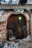 Clay pottery in the kiln Stock Image