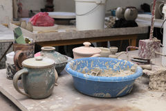 Clay pottery material Stock Images
