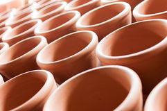 Clay pottery in rows. Clay pottery ceramics in ceramics village stock photo