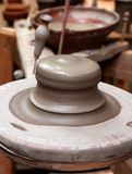Clay pottery stoneware potter wheel handcrafts Stock Photography