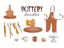 Free Clay Pottery Workshop Studio Icons Set Doodle Style Royalty Free Stock Photography - 126806007