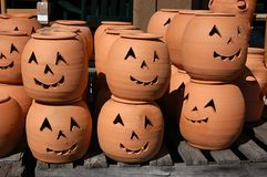 Clay Pumpkins. Clay Jack-0-Lanterns on display at a roadside pottery market near Sperryville, Virginia stock photos