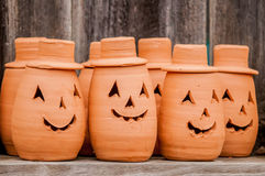 Clay pumpkins standing happy Royalty Free Stock Photography