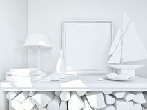 Clay rander of a still life in white Royalty Free Stock Photography
