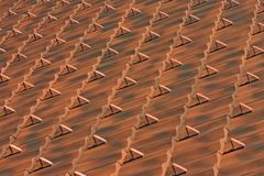 Clay red brown roof tiles pattern Royalty Free Stock Images