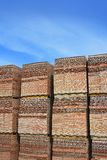 Clay red tiles stock pattern texture construction Stock Photo