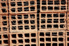 Clay red tiles stock pattern texture construction Royalty Free Stock Images