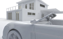Clay render of car and house Stock Photos