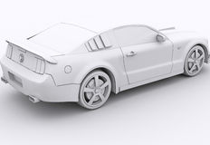 Clay rendered mustang Stock Images