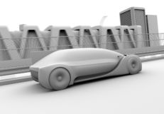 Clay rendering of autonomous electric car driving on highway. 3D rendering image stock illustration