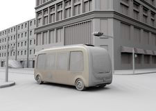Clay rendering of electric powered  autonomous shuttle bus driving through a intersection. Transparent texture effect composited.   3D rendering image vector illustration
