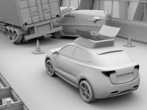 Clay rendering of electric rescue SUV released drone to recording car accident on highway vector illustration