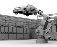 Clay rendering image of heavyweight robotic arm carrying white SUV in the assembly factory Stock Images