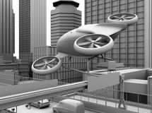 Clay rendering of self-driving passenger drone flying over a highway bridge. 3D rendering image Stock Images