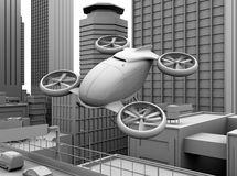 Clay rendering of self-driving passenger drone flying over a highway bridge. 3D rendering image Stock Image