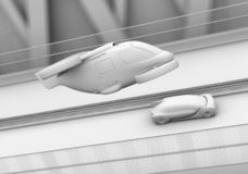 Clay rendering of self-driving passenger drone taxi and autonomous electric car on the highway. 3D rendering image stock illustration