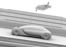 Clay rendering of self-driving passenger drone taxi and autonomous electric car on the highway. 3D rendering image royalty free illustration