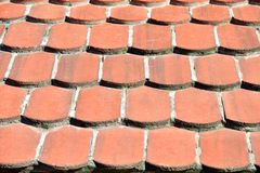 Clay roof tiles. Close-up of the red clay roof tiles Royalty Free Stock Image