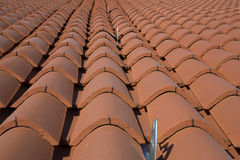 Clay roof tiles in the house Stock Photos