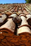Clay roof tiles old aged arabic style in Spain Stock Photo