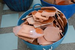 Clay roof tiles. On plastic basket Royalty Free Stock Photo
