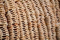 Clay roof tiles storage. Close up clay roof tiles storage Stock Images