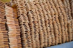Clay roof tiles storage. Close up clay roof tiles storage Royalty Free Stock Photography