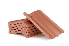 Clay roof tiles. Roof tiles on white background Stock Images