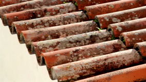 Clay rusty roof tile stock footage