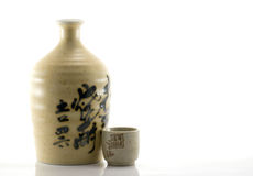 Clay Sake Bottle and Cup Stock Photo