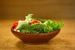 Clay salad bowl with fresh vegetables Royalty Free Stock Image