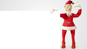 Clay santa claus with white blank board Stock Photography