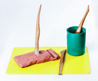 Clay for sculpting tools for sculpting Royalty Free Stock Photo