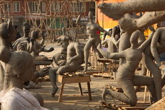 Clay sculptures. Preparation to Shiva Ratri Festival, clay sculptures of indian Gods in street workshop are drying in the sun, January 2, 2009 in Kathmandu Stock Images