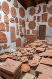Clay sculptures. In the potter workshop Stock Photo