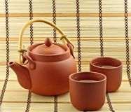 Clay set with green tea Stock Images