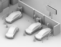 Clay shading rendering of electric cars in car sharing only parking lot royalty free illustration