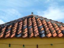 Clay shingle roof stock image