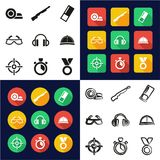 Clay Shooting All in One Icons Black & White Color Flat Design Freehand Set. This image is a vector illustration and can be scaled to any size without loss Royalty Free Stock Photography