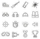 Clay Shooting or Skeet Shooting Icons Thin Line Vector Illustration Set. This image is a vector illustration and can be scaled to any size without loss of Royalty Free Stock Images