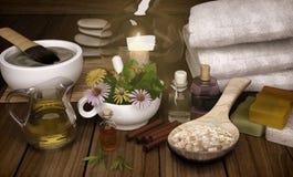 Clay Spa, masque, sel de Bath, bâtons de cannelle pour le corps sain et illustration de vecteur