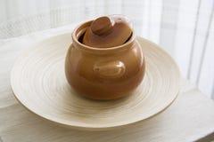 Clay stew on white Royalty Free Stock Photo
