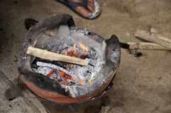 Clay Stove Burning Firewood Native Stock Image