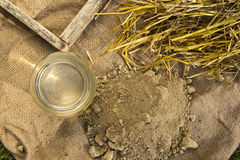 Clay, straw, water and mold for adobe brick Royalty Free Stock Images